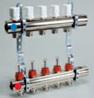 Регулируемый коллектор с труб.резьбой для теплого пола 3 выхода с расходомерами Luxor