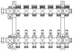 """Гребенка """"Multidis SF"""" 1"""" на 2 контура со встроенными регулирующими вставками Oventrop 1404052"""